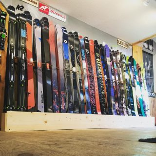 Ski wall is starting to fill in 👍🏼We are now open on Saturday's so pile in the van! #blizzard #volklskis #headskis #rossignol #nordica #blackcrows_skis #armada #lineskis #icelanticskis #salomonskis
