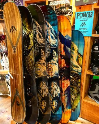 @jonessnowboards are in and looking beautiful! Come check these out before they're gone! We also have splitboards in stock 🏂 Every Jones purchase comes with a complimentary Protect Our Winters (POW) bracelet! #jones #1% #POW #flagship #mtntwin #explorer #dreamcatcher #twinsister #prodigy